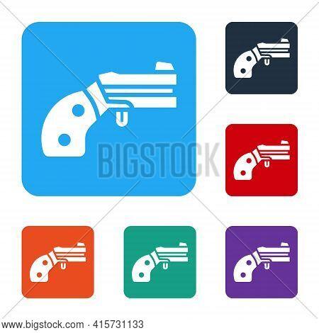 White Small Gun Revolver Icon Isolated On White Background. Pocket Pistol For Self-defense. Ladies R