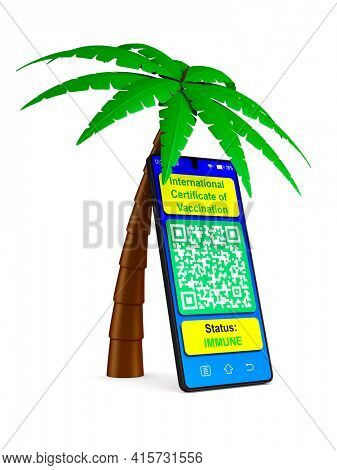 palm tree and digital passport of vaccination in phone on white background. Isolated 3D illustration