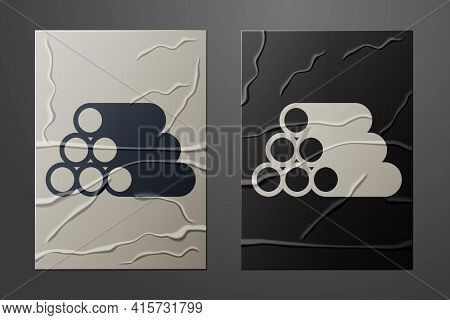 White Wooden Logs Icon Isolated On Crumpled Paper Background. Stack Of Firewood. Paper Art Style. Ve