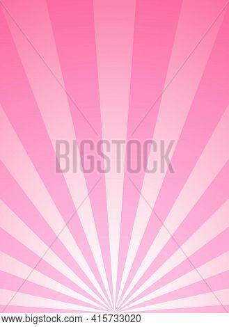 Sunlight Vertical Background. Pink Color Burst Background. Vector Illustration. Sun Beam Ray Sunburs