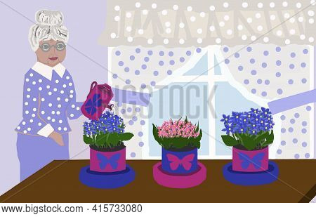 3 D - Rendering. There Are Three Pots Of Bright Flowers On The Table Near The Window. An Elderly Wom