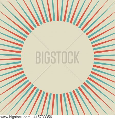 Sunlight Retro Background With Vintage Round Frame For Text. Red, Blue And Beige Color Burst Backgro