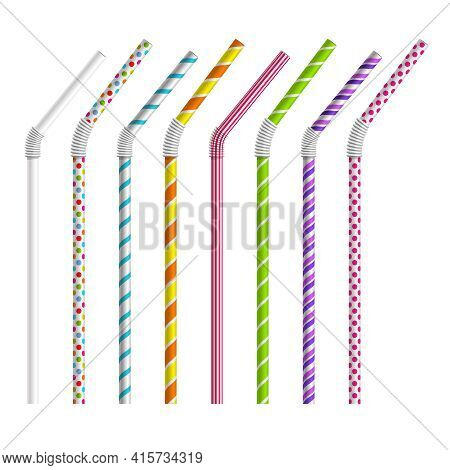 Color Drinking Straws Vector Set. Tube And Pipe, Object Colorful, Stripe And Bend Illustration
