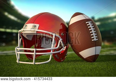 American football ball and helmet on the grass of football arena or stadium. 3d illustration