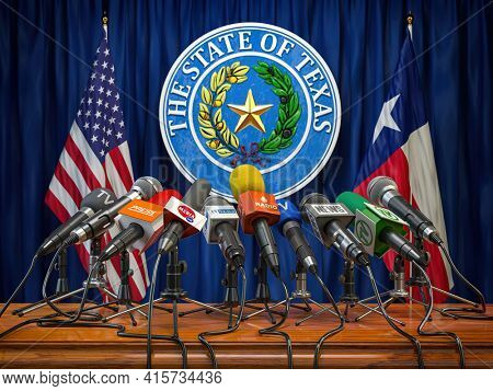 Press conference of governor of the state of Texas concept. Microphones TV and radio channels with symbol and flag of Texas state.  3d illustration