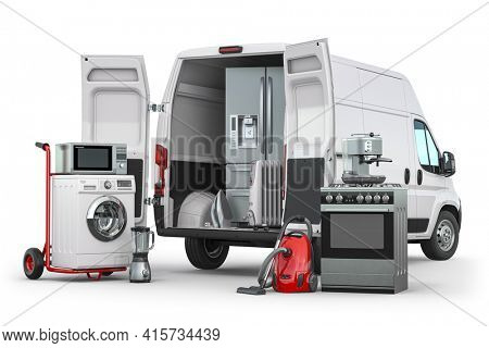 Buying and delivery household appliances concept. Delivery van with kitchen technics isolated on white. 3d illustration