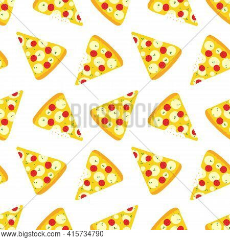 Cartoon Style Pizza Slices With Pepperoni And Mozzarella, Whole And With Bite Marks Vector Seamless