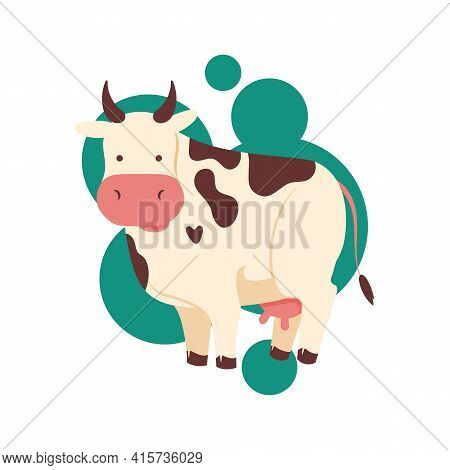 Funny Brown And White Spotted Cute Cow Or Bull Character Standing, Cartoon Vector Illustration Isola