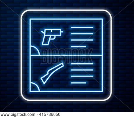 Glowing Neon Line Weapon Catalog Icon Isolated On Brick Wall Background. Police Or Military Handgun.