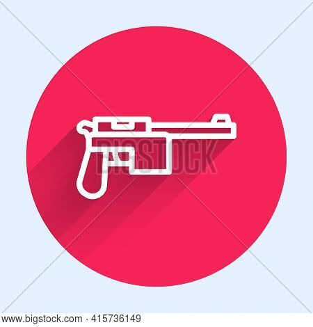 White Line Mauser Gun Icon Isolated With Long Shadow. Mauser C96 Is A Semi-automatic Pistol. Red Cir
