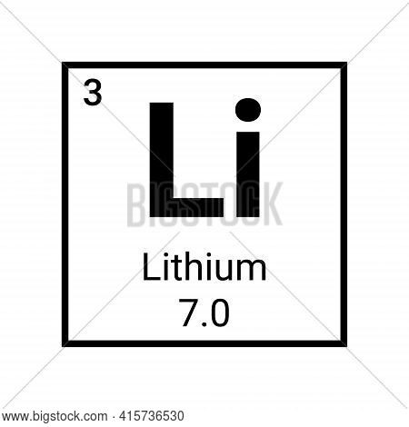 Lithium Chemical Periodic Element Icon. Vector Chemistry Lithium Sign
