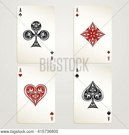 Four Aces Playing Cards Vector Designs Showing Each Of The Four Suits In Red And Black Conceptual Of