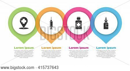 Set Map Pointer With Cross Hospital, Syringe, Bottle Of Medicine Syrup And Bottle Nasal Spray. Busin