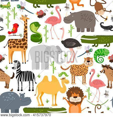 Jungle Animals Seamless Pattern. Crocodile And Wild Safari, Monkey And Snake, Lizard And Camel, Rhin