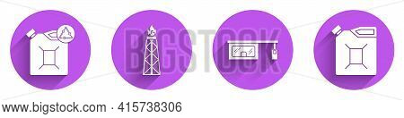 Set Eco Fuel Canister, Oil Rig With Fire, Gas Filling Station And Canister For Gasoline Icon With Lo