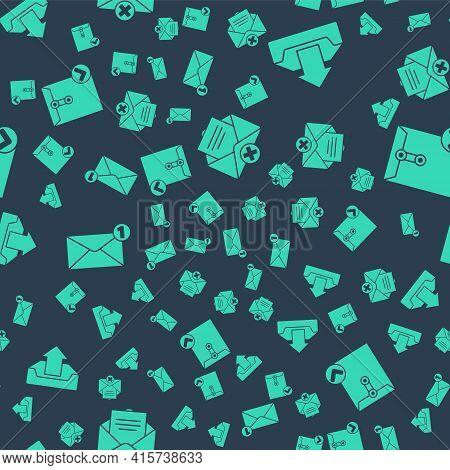 Set Delete Envelope, Upload Inbox, Envelope And Envelope And Check Mark On Seamless Pattern. Vector
