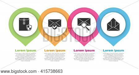 Set Envelope With Shield, Envelope And Check Mark, Envelope With Magnifying Glass And Outgoing Mail.