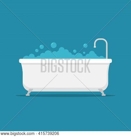 Bath Tub Shower Vector Icon. Bathtub Clipart Simple Flat Symbol