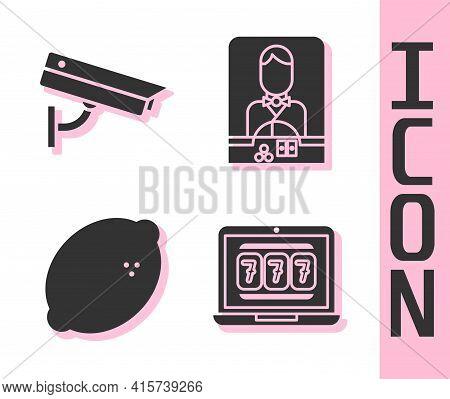 Set Laptop And Slot Machine, Security Camera, Casino Slot Machine With Lemon And Casino Dealer Icon.