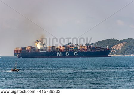 La Spezia, Italy - July 23, 2020: Msc Sara Elena Container Ship, 300-meter Cargo Vessel, Owned By Pa