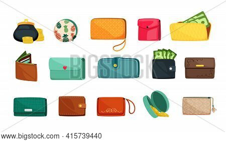 Stylish Wallets Set. Fashion Accessories With Green Bills Of Various Shapes Leather In Brown Strict