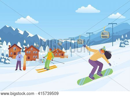 Cheerful Winter Sport Illustration. Woman Goes Downhill Snowboard With Male Character On Skis Cozy R