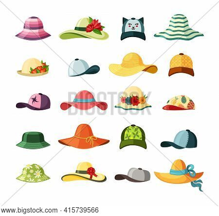 Wide Brimmed Hats And Caps Set. Stylish Baseball With Long Visor Bright Red Headdress Blue Ribbon Gr