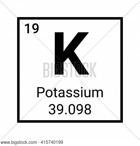 Potassium Element Periodic Table Symbol Vector Icon. Potassium Chemistry Element Symbol