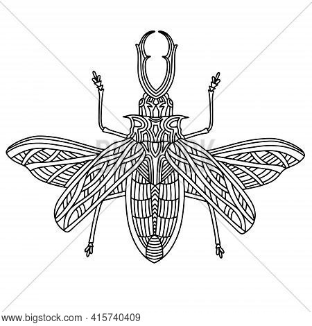 Beetle Brazilian Woodcutter Coloring Book. Woodcutter Beetle Linear Vector Illustration. Anti-stress