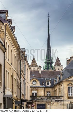View Of City With Spire Of Dijon Cathedral, France