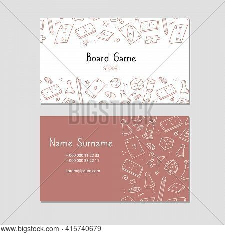 Visit Card With Board Game Element, Cards, Chess, Hourglass, Chips, Dice, Dominoes. Doodle Sketch St