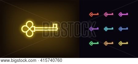 Neon Key Icon. Glowing Neon Key Sign, Outline Magic Clue, Silhouette In Vivid Colors. Golden Skeleto