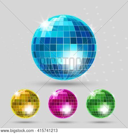 Disco Ball Set. Club Sphere, Reflection Shiny, Dance Entertainment. Vector Illustration