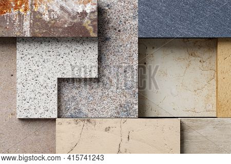 3d Rendering Of A Stones Mosaic Made With Different Materials.