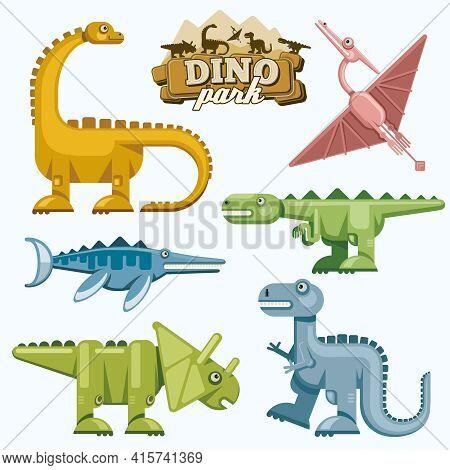 Dinosaur And Prehistoric Animals Flat Icons Set. Pterodactyl Tyrannosaurus Triceratops And Brontosau