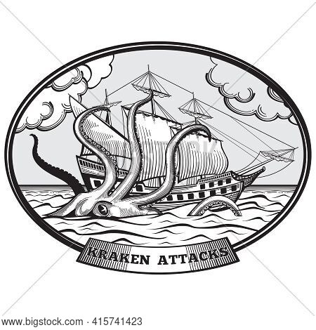 Sailing Ship And Kraken Monster Octopus Emblem Hand Drawn Style. Tentacle Ocean, Nature Giant, Vecto