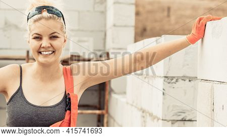 Happy Builder Working Build New House