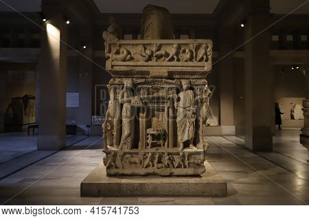 Istanbul, Turkey - January 27, 2021: Sidamara Sarcophagus In Istanbul Archaeological Museums Where W
