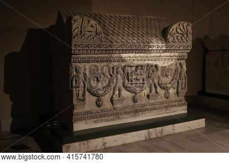 Istanbul, Turkey - January 27, 2021: Sarcophagus In Istanbul Archaeological Museums Where Was Built