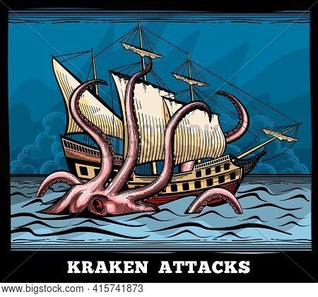 Sailing Vessel And Kraken Monster Octopus Vector Logo In Cartoon Style. Squid With Tentacle Myth, Ad