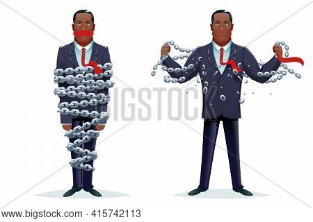 Breaking Chains Liberation Heroic Strength Imprisoned Release Cartoon Design Character Concept Vecto