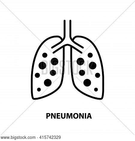 Pneumonia Respiratory Inflamed Icon Vector Asthma Pulmonology Logo. Pneumonia Line Icon