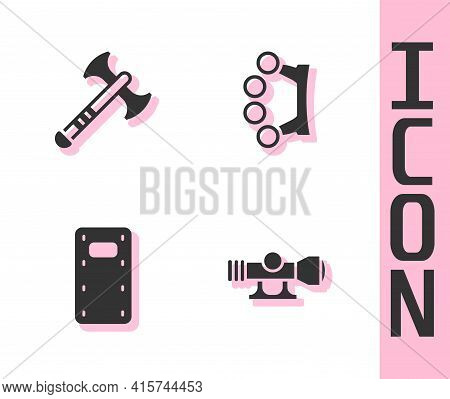 Set Sniper Optical Sight, War Axe, Military Assault Shield And Brass Knuckles Icon. Vector