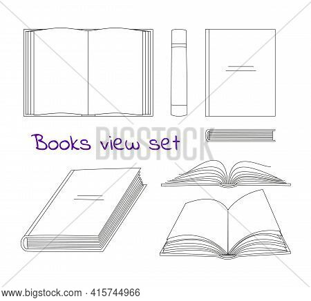 Books Linear Sketch Symbols Collection In Different Positions. Vector Opened And Closed Books Isolat