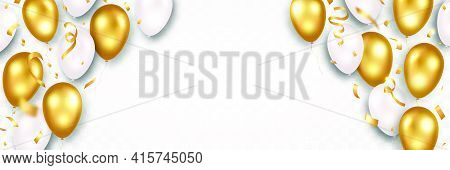 Golden And White Flying Balloons With Sparkles And Confetti. Happy Birthday, Celebration Background