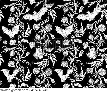 Seamless Pattern With Bats. Tapestry Vector Illustration.