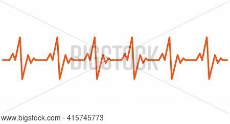 Heart Beat Ekg Cardiogram Line Pulse Icon. Electrocardiogram Heart Beat Ecg Rate Monitor