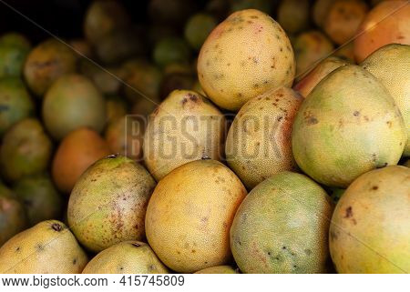 Fresh And Ripe Pomelo On Display For Sale