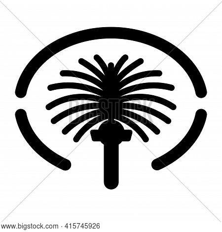 Palm Jumeirah Icon Dubai Vector Island Map Illustration. Palm Jumeirah Logo Symbol