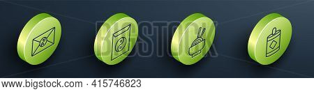 Set Isometric Yin Yang And Envelope, Yin Yang And Envelope, Asian Noodles In Bowl And Firework Icon.